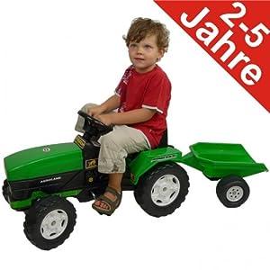 tretfahrzeug traktor mit anh nger gr n bulldog kinderspielzeug k che haushalt. Black Bedroom Furniture Sets. Home Design Ideas