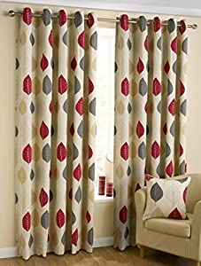 100% Cotton Red Cream Beige 90x72 Floral Lined Ring Top Curtains #faeldom *bel*