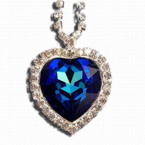 Titanic Heart of the Ocean Necklace Pendant Jewelry- Blue Swarovski Crystal