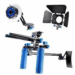 SunSmart DSLR Rig video camera Shoulder Mount Kit including DSLR Rig shoulder support, Follow Focus and Matte Box for All DSLR Video Cameras and DV Camcorders