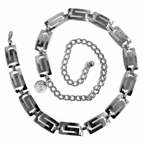Luxury Divas Silver Finish Classic Greek Key Chain Link Belt