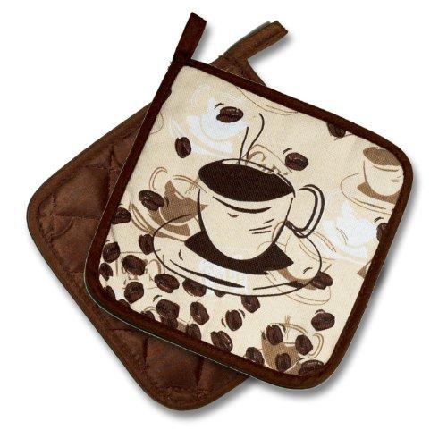 """Tischdeckenshop24 Topflappen """"Kaffee-Vielfalt"""" / 2er Set (1 Paar) / Motiv Kaffeetasse und Kaffeebohnen / braun-beige /"""