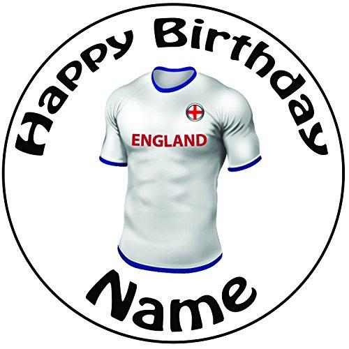 Décoration pour gâteau personnalisée Football Angleterre pour Homme-Un Rond prédécoupés 20,3cm Décoration Glaçage (20cm)