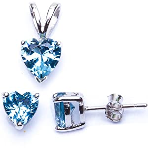 BEST SELLER GIFT! BEAUTIFUL Aquamarine Color Heart Pendant & Earring .925 Sterling Silver Set from Oxford Diamond Co