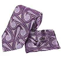 Pink Purple Paisleys Pattern Silk Tie Hanky Mens Necktie Cuff Links Handkerchiefs Set with Gift Box Set PH1043 onesize Pink ,Purple