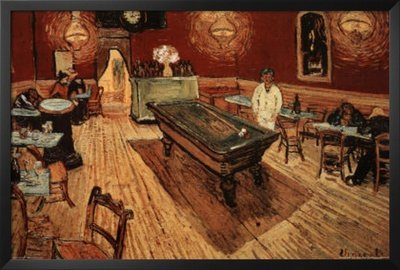 Professionally Framed Vincent Van Gogh Night Cafe with Pool Table Art Poster - 24x36 with RichAndFramous Black Wood Frame