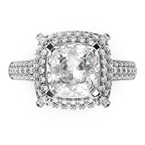 Sz 5 Sterling Silver 925 Cubic Zirconia CZ 3 Ct. Cushion Cut Halo Engagement Ring