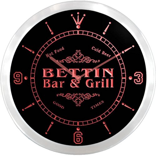 ncu03549-r BETTIN Family Name Bar & Grill Cold Beer Neon Sign LED Wall Clock