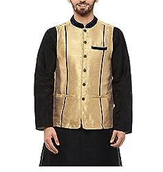 Yepme Men's Gold Blended Nehru Jackets - YPMNJKT0038_XL