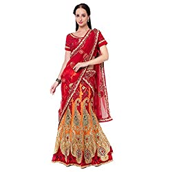 Suchi Fashion Orange Net And Satin Embroidered Circular Lehenga Choli