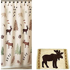 Brown Green Bear Deer Lodge Cabin Rustic Fabric Shower Curtain And Hooks Kitchen