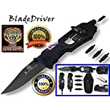 Multi-Tool Knife- The BladeDriver Is A Multiuse Multifunction Tactical Folding Survival Pocket Knife & Functions As A Knife,Philips Screwdriver, LED Torch Flash Light, Hex Nut Driver, Strait Slot Driver, And 6 Point Star Driver Lifetime Guarantee