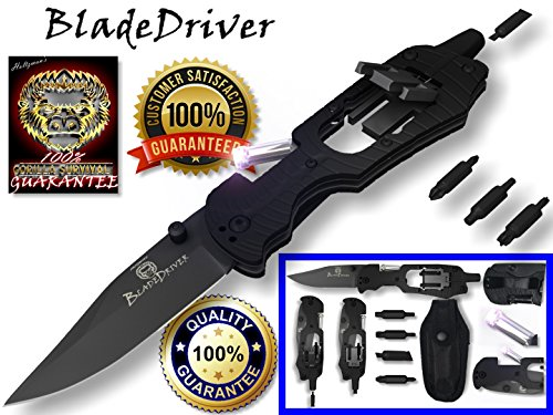 Multi-Tool Knife- The BladeDriver Is A Multiuse Multifunction Tactical Folding Survival Pocket Knife & Functions As A Knife,Philips Screwdriver, LED Torch Flash Light, Hex Nut Driver, Strait Slot Driver, And 6 Point Star Driver Lifetime Guarantee (Multi Use Tool compare prices)