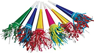 Party Partners Design Tasseled Noisemaker Horn Party Favors, Multicolored, 6 Count