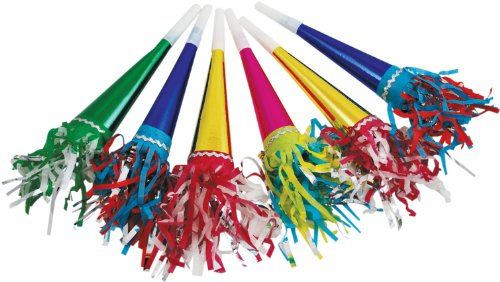 Party Partners Design Tasseled Noisemaker Horn Party Favors, Multicolored, 6 Count - 1