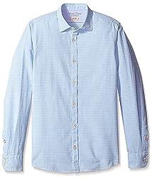 Rosé Pistol Men's Long Sleeve Victorville Mini Checked Shirt, Stream, L