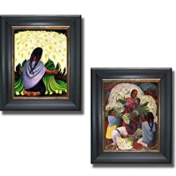 The Flower Seller & Flower Vendor by Diego Rivera 2-pc Premium Black & Gold Framed Canvas Set (Ready-to-Hang)