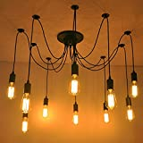 ホームデコヴィンテージ工業DIYランプフィクスチャレトロペンダントライトシーリングランプシャンデリア6/8/10照明スパイダー照明(E27電球ベース、調節可能) (10 頭)