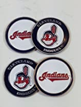 Cleveland Indians Four (4) Golf Ball Markers - 2 sided