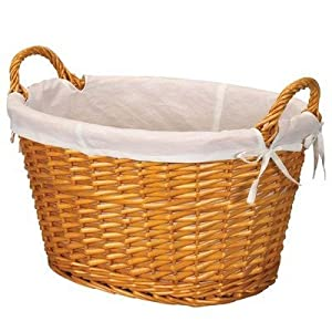 Image: Household Essentials Oval Shaped Woven Willow Laundry Basket with Cotton Lining - Oval-shaped laundry basket hand woven from all-natural split willow