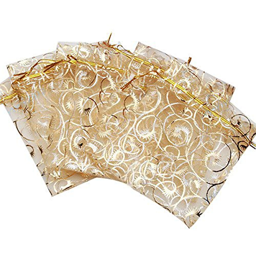 Yansanido 10x12cm /3.9x4.7 Inches 100pcs Beautiful Gold Champagne Eyelash Organza Drawstring Pouches Jewelry Party Wedding Favor candy Gift Bags Pouch Bags (gold 3.94.7inches)