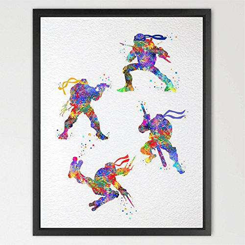 Dignovel Studios 8X10 Teenage Mutant Ninja Turtles Inspired Watercolor Art Print Wall Art Poster Hanging Home Decor Boys Room Art Motivational Inspirational N348 (Teenage Mutant Ninja Turtles Art compare prices)