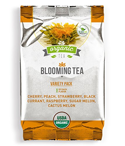 Blooming Tea - 7 Organic All Natural Flavors of Flowering Tea - Variety Pack - 7 Blooms (1 of each flavor) (Kiss Me Organics compare prices)