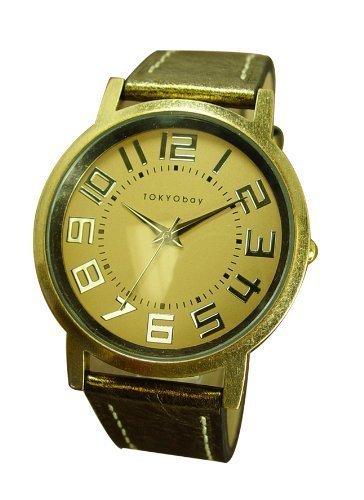 Tokyobay Platform Leather Watch In Metallic Gold