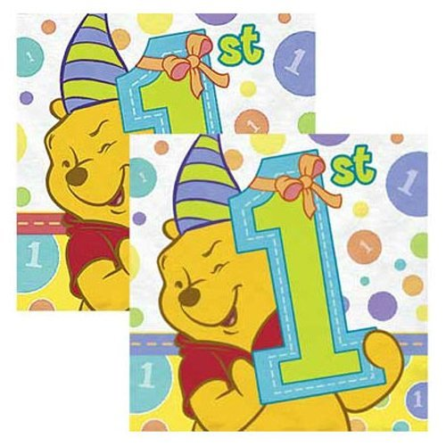 Winnie the Pooh 1st Birthday Napkins (32 Count)) (Winnie Pooh Table compare prices)