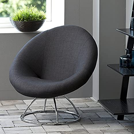 lounge-zone Design Sessel Loungestuhl GONZALO Metallbeine verchromt Stoffbezug anthrazit 12979