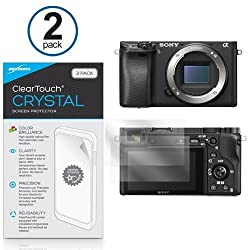 Sony Alpha a6300 Screen Protector, BoxWave [ClearTouch Crystal (2-Pack)] HD Film Skin - Shields From Scratches for Sony Alpha a6300