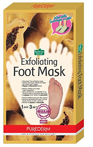 Purederm Exfoliating Foot Mask - Peels Away Calluses and Dead Skin in 2 Weeks! (3 Pack (3 Treatments), Regular) (Baby Feet Foot Treatment compare prices)