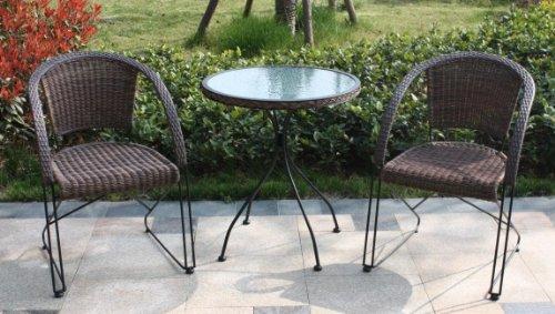 Bistro- Gartensitzgruppe 3 tlg. mit 2 Freischwinger 1 Tisch + 2 Stühle Gartenmöbel preiswert