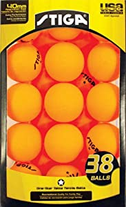 Stiga One-Star Table Tennis Ball, 38-Pack (Orange)