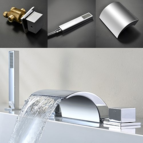 ® 5 Loch Chrom Wannenrandarmatur Einhebel Wasserhahn Wasserfall Armatur Waschbecken Badewanne Bad Wannenrand