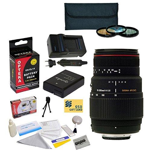 Sigma 70-300Mm F/4-5.6 Apo Dg Macro Motorized Telephoto Zoom Lens For The Nikon D3100, D3200, D3300, D5100, D5200, D5300 - Includes 3 Piece Pro Filter Kit (Uv, Cpl, Fld) + Replacement Battery Pack For The Nikon En-El14 1800Mah + 1 Hour Ac/Dc Battery Charg