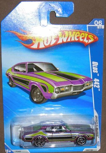 HOT WHEELS 06/10 '09 MUSCLE MANIA OLDS 442 PURPLE AND GREEN 082/190