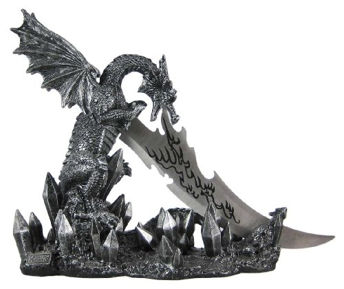 Wicked Fire Dragon Fantasy Knife & Holder Dagger