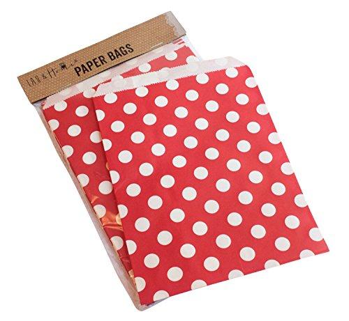 Confezione da 25 punti party sacchetto di carta / caramelle dolci regalo, 13x18cm - Rosso