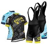 FDX Mens Pro Cycling Jersey Half Sleeve Bike Team Racing Top + 3D Gel Padded Bib shorts set