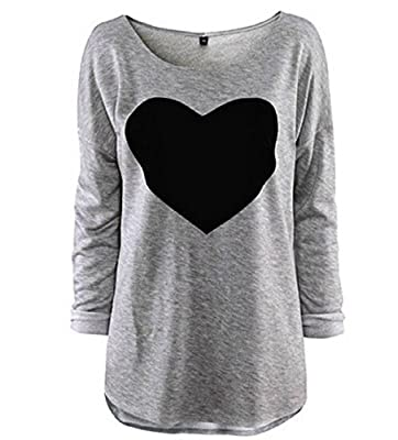 Women Casual Long Sleeve Heart Shape T-shirt Autumn Winter Tee Tops Plus Size