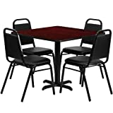 Flash Furniture Square Mahogany Laminate Table Set with 4 Black Trapezoidal Back Banquet Chairs, 36