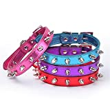 Puppy-league-Pu-Leather-Smooth-Surface-Single-Rows-Bullet-Nail-Studded-Dog-Collars-Chain-for-Pet-Dogs-Chihuahua-XS-Red
