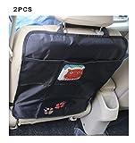 DoubleVillages Organizadore para coche Coche Asiento trasero Organizador Oraganizador de Coche Funda para asiento de coche Coche Asiento trasero Organizador Protector de asiento de coche / Protector de respaldo para coche con bolsa / Kick Mats -OSO P