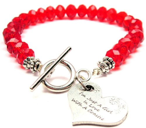 I'M Just A Girl In Love With A Coastie Red Crystal Beaded Toggle Bracelet