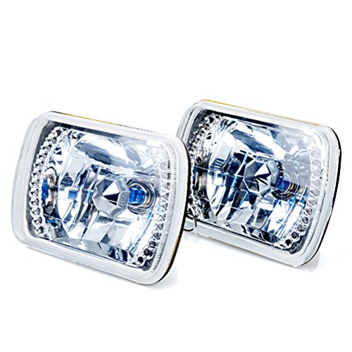 "7""X6"" 55W H4 Chrome Sealed Beam Square Crystal Diamond Cut Hi/Lo Halogen White 20 Led Headlight For Toyota Pick Up Pickup Truck"