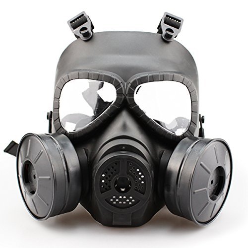 SHARPTECK Airsoft Mask Outdoor Sports Tactical Paintball mask Full Face Skull CS Mask With double filter fan CS edition Perspiration Dust Face Guard,Black (Airsoft Gas Mask compare prices)