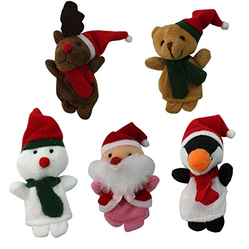 Story Time Christmas Santa Claus and Friends Finger Puppets - 5 pcs
