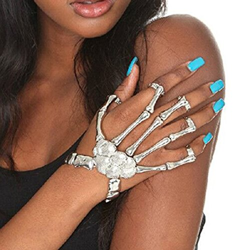 IBobo Fashion Women Silver Gold Vintage Hand Finger Jewelry Punk Carve Skeleton Rings Bracelet Set (Silver, one size)