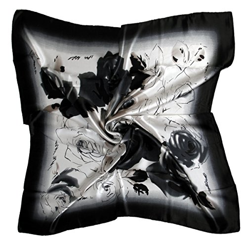 "ETSYG® 32"" Elegant Flower Square Silk Scarf Shawl Wrap White Black Headband"